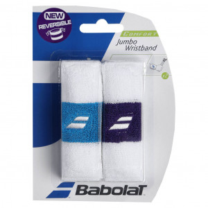 Babolat Jumbo wristband 2 pcs. - white/turquoise-white/purple