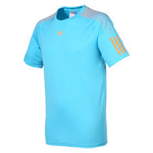 Adidas boys Barricade tee - samba blue/glow orange